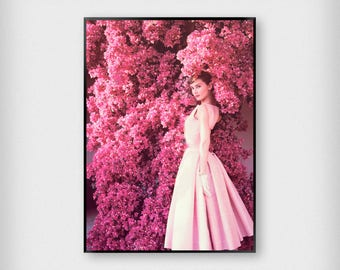Audrey 1 Print | Fashion | Pink | Photography - Audrey Hepburn - Poster