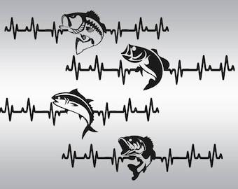 Fishing svg file, Bass svg, Heartbeat Fish svg, Heartbeat svg, Fishing clipart, Cricut, Cameo, Cut file, Clipart, Svg, DXF, Png, Pdf, Eps