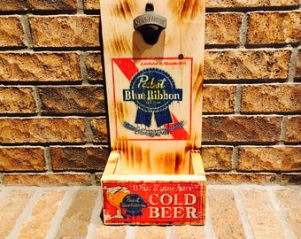 Rustic Pabst Blue Ribbon Bottle Opener with Replica Cold Beer ad