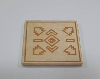 Handmade Natural Wood Coaster Set, 4 Pieces Set, Engraved Coasters,
