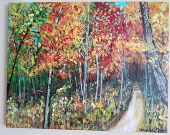 16x20  autumn fall nature painting