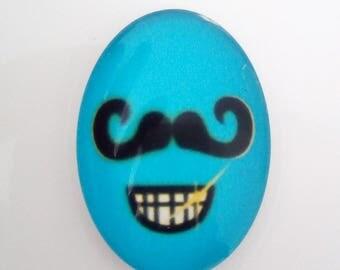Glass cabochon mustache black blue 25x18mm oval