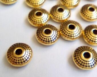 10 pearls flat spacer donut filigree Golden 8x4mm