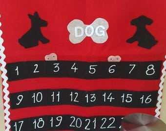 Handcrafted Dog adventcalender with pet treat storage container
