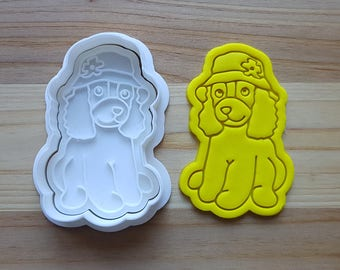 Cocker Spaniel wearing Hat Cookie Cutter and Stamp
