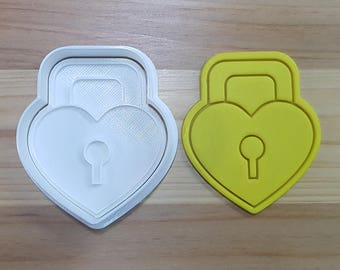 Heart Lock Cookie Cutter and Stamp