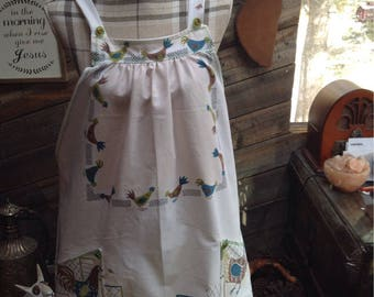 Country mornings smock style vintage tabecloth apron