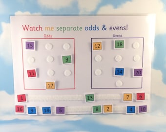 Odds and evens learning sheet, separate numbers, KS1, Matching game, numbers to 20, numeracy, Visual learners, Early learning