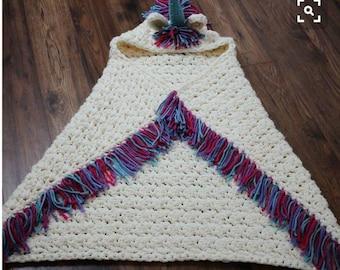 Crochet Hooded Unicorn Blankets