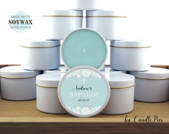 12 ct blue Baptism favors, 4 oz personalized soy candles, baby boy christening, baptism candle favors, rustic, lace design
