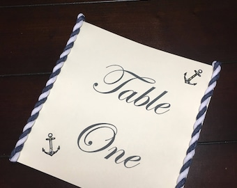 Nautical Table Numbers, Anchor Table Number Cards, Nautical Table Labels, Anchor Themed Wedding Baby Bridal Shower - 2 per order