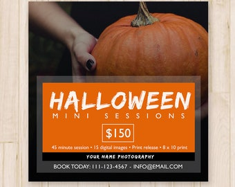 Halloween Mini Sessions Template - Booking Ad, Newsletter Template, Fall Marketing Board Template - Photoshop PSD *INSTANT DOWNLOAD*