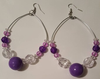 Ladies Large Hoop earrings/chunky/Lavender/purple/jewelry