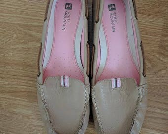 1990's Leather Upper Boat Shoe Tan Loafer Slip On/Womens 8.5