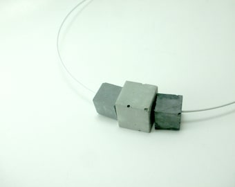 Concrete jewelry. Geometrical Delicate Concrete Necklace. Industrial style  Architectural. Geometric. Contemporary.