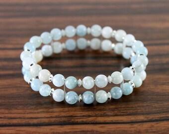 Aquamarine Bracelet - Light Blue Bracelet, Silver - Genuine Aquamarine Cuff Bracelet - Gemstone Stretch Bracelet - Natural Stone Bracelet
