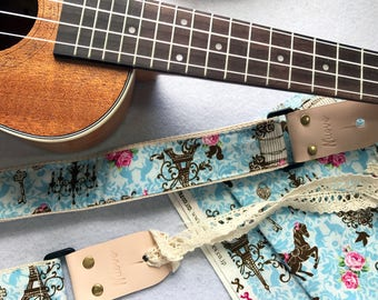 """Pre-launch Proto Sale! NuovoDesign """"Eiffel""""  Ukulele strap with leather tags. tie lace and end pin included"""