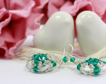 Earrings, green, cristal, bicone, sead beads, metalic, silver