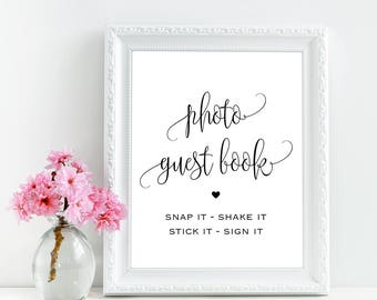 Photo guest book sign, Wedding instant photo guest book sign, Wedding photo booth sign printable, Wedding guest book alternatives, Download