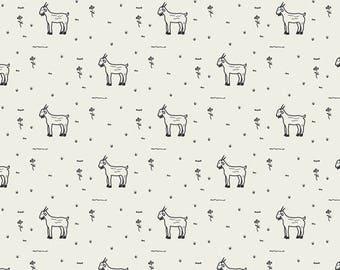 Goat Fabric - Art Gallery Day Trip - Grazing Goat - Dana Willard - Farm Animal Fabric on White Premium Quilting Cotton - Fabric by the Yard