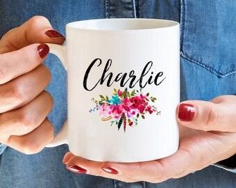 Monogram Coffee Mug, Floral Bridesmaid Coffee Mug , Monogram Gift, Girly Coffee Mug, Floral Initial Bridesmaid Mug, Personalized Mugs