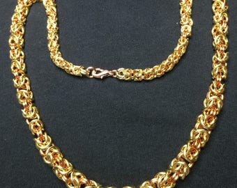 Brass and Copper Graduated Byzantine Weave Chainmaille Necklace 4th of July Special Offer