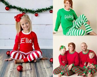 Christmas Pajamas- Personalized Christmas Pajamas, Monogram Christmas Pajamas, Family Christmas PJs,  Matching Pajamas, Christmas, Pajamas