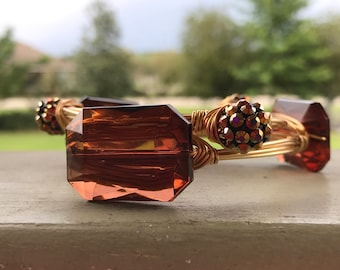 Brown Wire Wrapped Bangle Bracelets