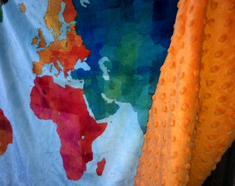 WORLD map baby blanket - double minky baby blankie - 33 by 53 inches - ready to ship