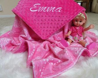 Personalized Baby Girl  Blanket, Pink  Baby Girl Blanket, Minky  Baby Gift, Baby Shower Gift, Minky Baby Girl Blankets,