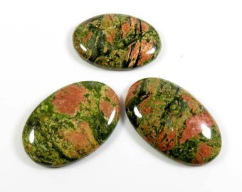 88 Cts. Unakite gemstone. Best Grade! Natural Unakite Cabochon. Unakite Loose gemstone 3 Pcs. lot. Oval Shape Unakite jewelry use UEN-109