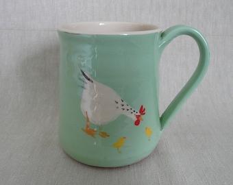 Pottery mug. Chicken mug. Coffee mug. Chicken and chicks mug. Tea mug