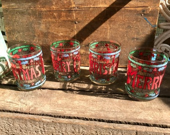Vintage Cera Holiday Glass Set | Double Old Fashioned Cera Glasses| Stained Glass Style Tumbler Set | Set of 4 Cera Glass Christmas Glasses