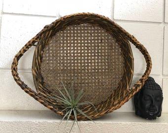 Vintage unitique wood wicker tray/basket
