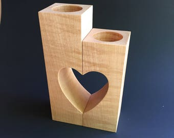 Maple tea light candle holders with heart cut out.