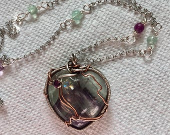 Fluorite with sterling wire weave