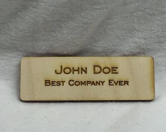 Custom Name Tag - Custom Laser Engraved Magnetic Back Wooden Name Tag