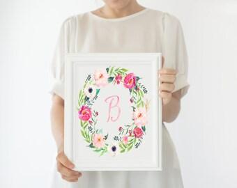 Floral Monogram Print, Floral Baby Girl Nursery Print, Pink and Green, Blush and Peach, Pretty Floral Nursery Artwork, Printable or Printed