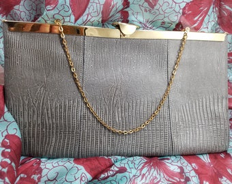 Divine Etra Evening Clutch in Embossed Leather with Hidden Chain