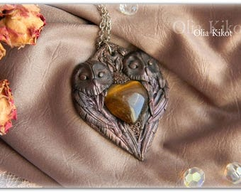pendant necklace necklace heart polymer clay owl in love Beautiful heart Pendant gift birthday female girls woman gift Easter Mother's Day