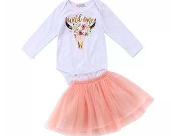 """Turning one outfit : """"wild one"""" Onesie and tutu skirt    Perfect for 1st birthdsy cake smash  2pc  12 month old sizing"""