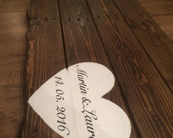 Wooden wedding guest book board reclaimed wood (free P&P)