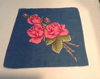 Vintage Rose Linen Handkerchief