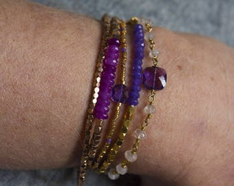 Adjustable silver chain bracelet gold plated end and pink Quartz - Amethyst from Africa