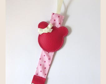 Fuchsia and pink girl pacifier clip