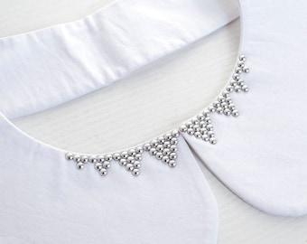 Peter Pan Collar / White and Silver Necklace Collar / White Boho Collar