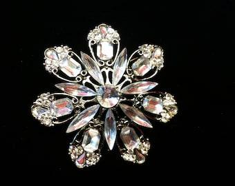 Vintage Clear Crystal Snowflake Brooch