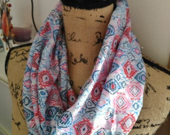 Snood scarf blue patterns graphic new and handmade!