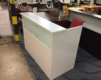 60 by 30 Glass front reception desk in white