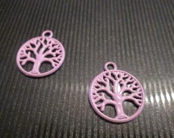 2 charms / pendants tree of life purple 20 * 24mm